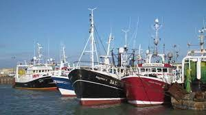 Image of several fishing boats moored at port in a small fishing village